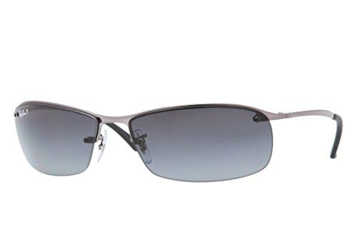 Ray-Ban RB3183 Sunglasses 63 mm (63 mm, Gunmetal Frame/Polarized Silver Mirror Lens) (Rayban Square Sunglasses Men)