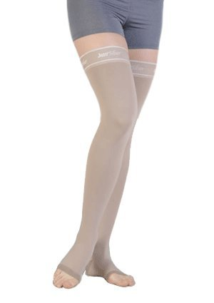 Juzo Silver Thigh High With Silicone Dot Band Short 20-30mmHg Open Toe, III, Silver by Juzo