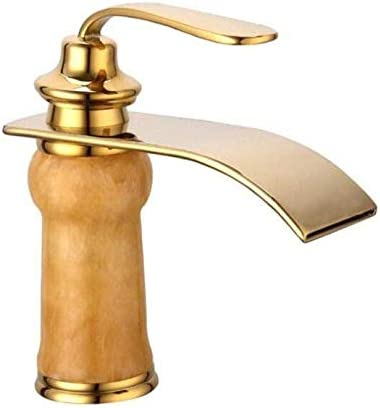 Zxyan 蛇口 立体水栓 キッチンシンクタップバスルームのシンクの蛇口ナチュラルジェイド金メッキ滝流域のお湯と水の蛇口、1、耐久性 トイレ/キッチン用