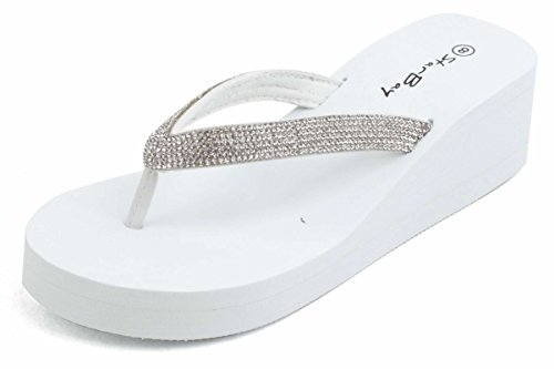 The Bay Womens Fashion Wedge Sandals Thongs Flip Flop W/Stones 2306 White/Silver 8
