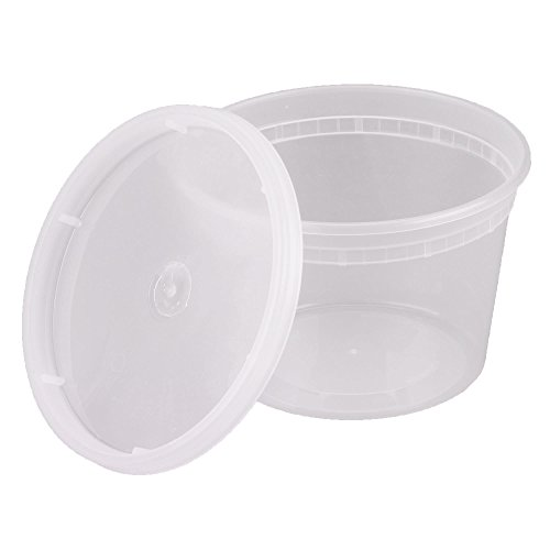 16 oz. Plastic Deli Food Storage Containers with Airtight Lids [48 Sets]