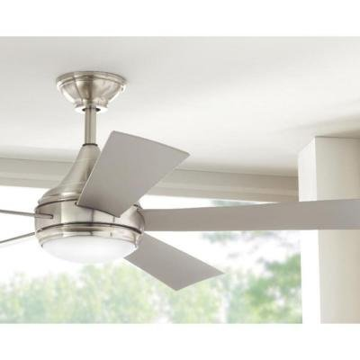 Hanlon 52 in. LED Indoor/Outdoor Stainless Steel Brushed Nickel Ceiling Fan by Home Decorators Collection (Image #2)