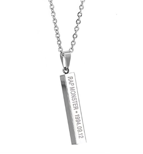 (Thelivingstar Bangtan Boys Members Name Date Cuboid Bar Pendant Necklace Fashion Jewelry Silver Titanium Chain Necklaces & Pendants for Fans (Rap Monster))