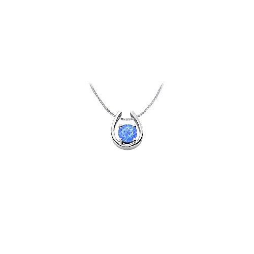 Rhodium Treated 925 Sterling Silver Created Sapphire Horseshoe Pendant with 1.00 Carat TGW (Pendant Horseshoe Sapphire)