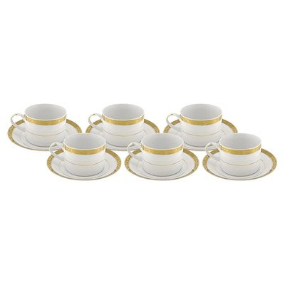 Vanessa Gold Teacup and Saucer [Set of 6]