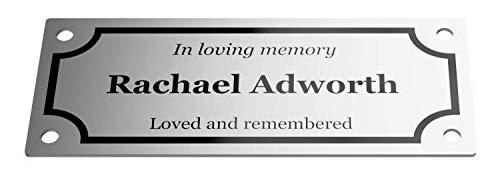 - OriginDesigned Easy Fixing Custom Personalised Aluminium Memorial Plaque 100 mm x 40 mm ...