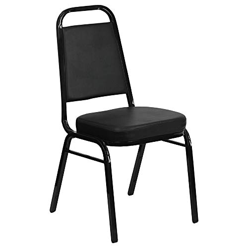 Iceberg 66361 Banquet Chairs With Trapezoid Back, Black/black, 4/carton
