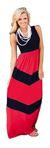 Daysoft Women Cotton A-line Round Neck Sleeveless Casual Maxi Long Dress (XL, red)