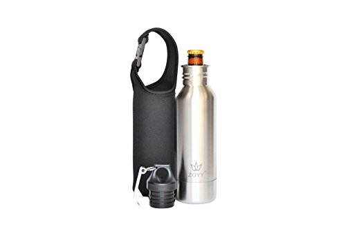 Stainless Steel Bottle Holder - Zoyy Stainless Steel Beer Bottle Holder Insulator With Opener and Carrying Case