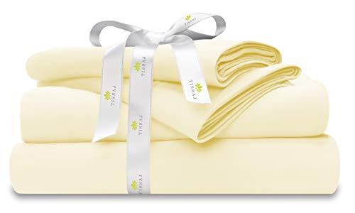 500-Thread-Count Organic Cotton Bed Sheets-Set - 500TC California King Size Natural - 4 Piece Bedding - 100% GOTS Certified Extra Long Staple, Soft Sateen Bedsheets - Fits 15