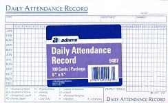 Daily Attendance Record 100 Cards/package 8''x5'' Index Cards