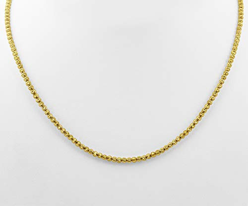 - LoveBling 10K Yellow Gold 3mm Diamond Cut Disco Moon Chain Necklace (24
