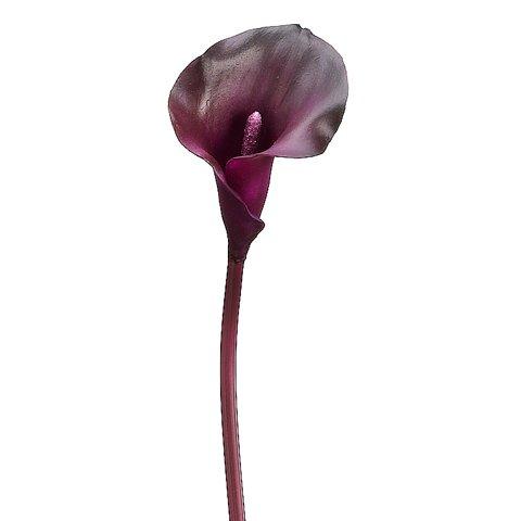 "21"" Silk Calla Lily PVC Flower Spray -Eggplant (case of 12)"