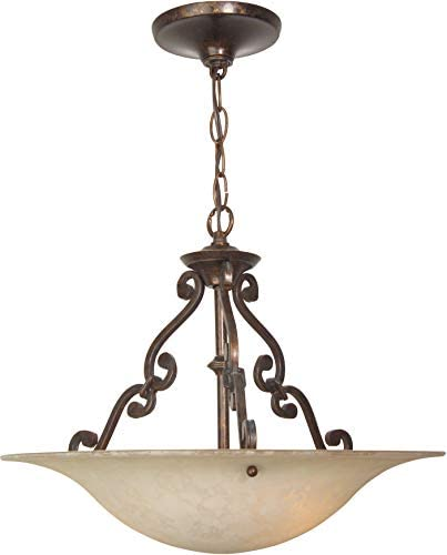 Craftmade X1916-AG Toscana Italian Bowl Glass Inverted Pendant Lighting, 3-Light, 300 Watts, Aged Bronze 16 W x 14 H