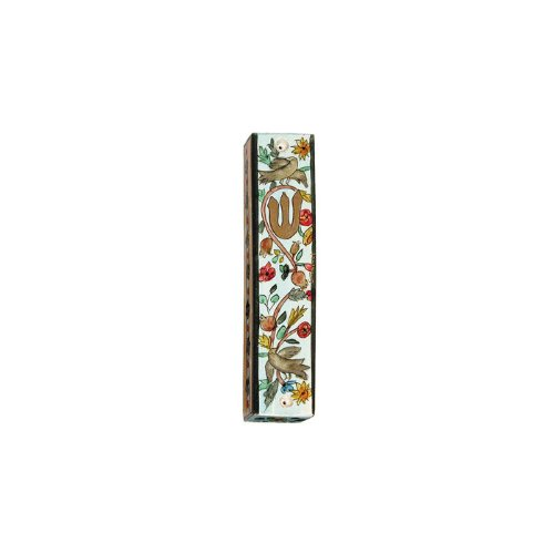 Yair Emanuel Mezuzah with Birds and Flowers in Painted Wood