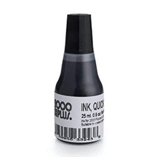 2000 Plus Quick Dry Refill Ink, Ink for Pre Ink Stamps, Ink for Glossy Papers, Ink for Zip Lock Bag (Black Quick Dry Ink)