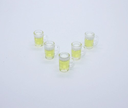 ChangThai Design 5 Glass Jar of Beer Dollhouse Miniature Handmade Food Groceries
