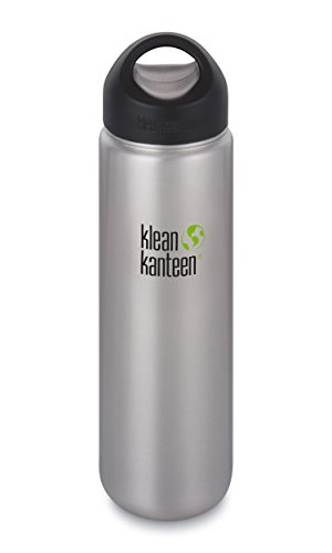 Klean Kanteen Wide Mouth Single Wall Stainless Steel Water Bottle with Leak Proof Stainless Steel Interior Cap - 27oz - Brushed Stainless