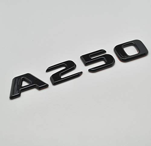 Schwarz gl/änzend A250 Flaches Benz Auto Modell nummeriert Buchstabe Abzeichen Emblem f/ür A Class Benz W176 W177 AMG
