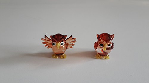 Owl Figure Dollhouse Miniatures Animals Brown Collectible Figurine