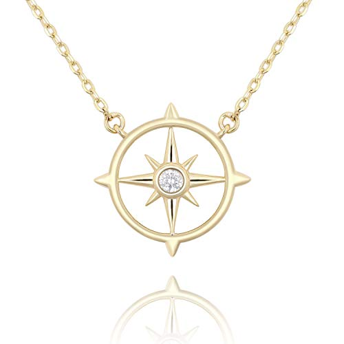 Lancharmed S925 Sterling Silver Cute Compass Pendant Starburst Necklace Fine Jewelry for Women Girls