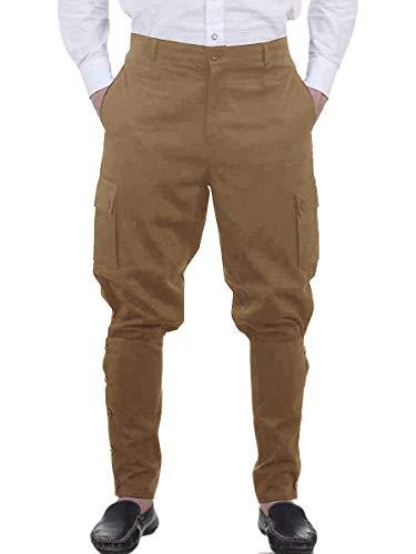 Mens Medieval Renaissance Pants Steampunk Victorian Viking Costume Cosplay Navigator Gothic Trousers Khaki