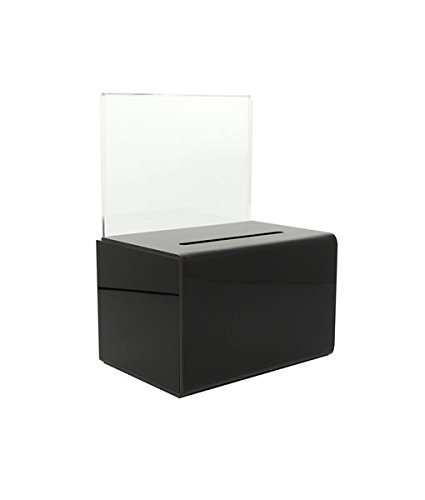 SourceOne Donation Box with Sign Holder and Lock, 5 Inch Wide, Small, Black  ()