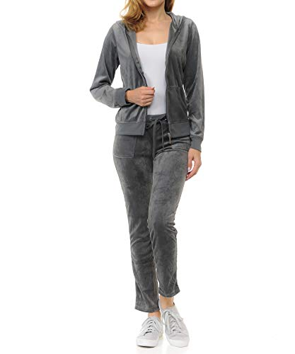Sweatpants Set - Women's Lightweight Hoodie & Sweatpants Velour Suit 2 Piece Loungewear Set (S-3XL) XXX-Large Charcoal Gray