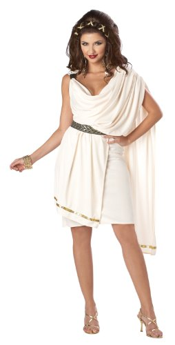 Roman Female Costumes - California Costumes Women's Deluxe Classic Toga Tunic, Cream, Small Costume