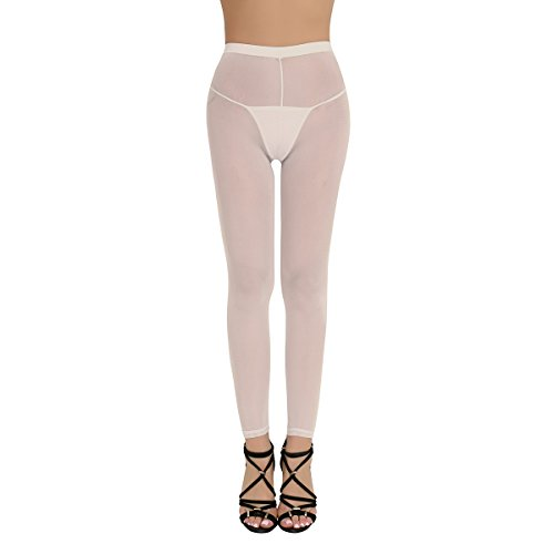 (dPois Womens Super Soft Mesh Sheer See-through Full Length Footless Skinny Slimming Tights Leggings Pants Nude One Size)