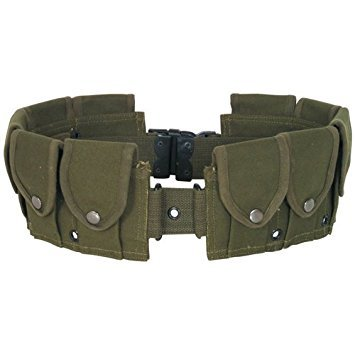 (Ultimate Arms Gear Tactical OD Olive Drab Green 10 Pocket Utility Pouch Cartridge Ammo Tool Heavy Duty Cotton Canvas Belt)