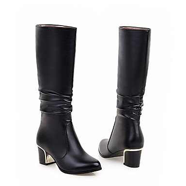 Women's Leatherette Shoes White us5 uk3 5 Mid Fashion black For Toe Casual Dress Boots Boots Calf Round Winter cn35 eu36 5 Boots Heel Chunky Black 4r4wqCxd