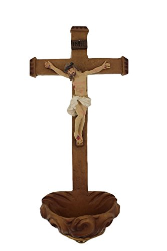 10.5-inch Traditional Crucifix Design Holy Water Font