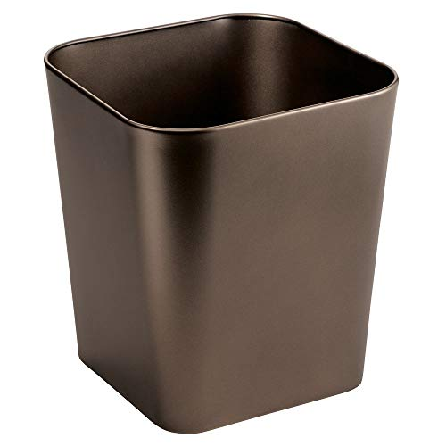 Square Wastebasket - mDesign Decorative Metal Square Small Trash Can Wastebasket, Garbage Container Bin - for Bathrooms, Powder Rooms, Kitchens, Home Offices - Bronze