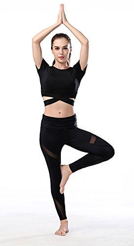 Campeak Women's Yoga Gym Crop Top Compression Workout Athletic Short Sleeve Shirt by Campeak (Image #5)