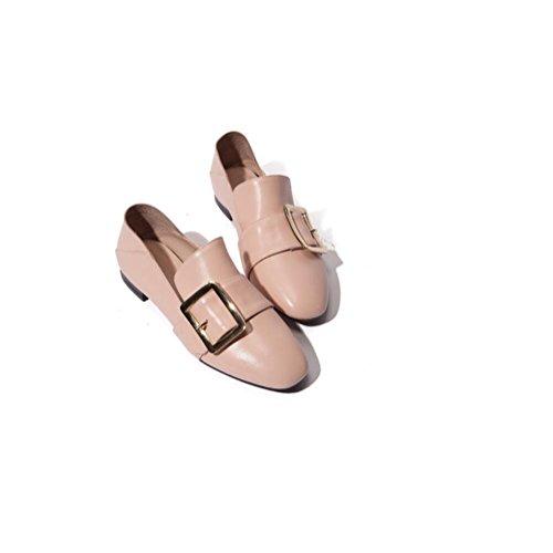 Quadrato donne fibbia scarpe singolo genuino in pelle libero Slip retrò su scarpe piatte , pink , 39