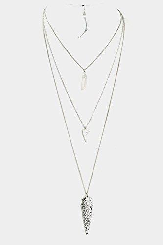 GlitZ Finery Hammered Arrowhead Pendant Triple Layered Stone Necklace Set (Rhodium)