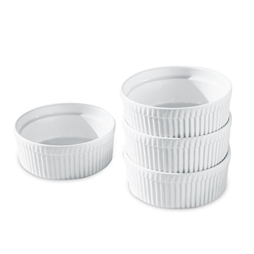 Cinf Porcelain Ramekin White 10 oz. Pudding Bowls Dishes Cup for Baking- Set of 4,Soufflé Cups Dishes, Creme Brulee, Custard Cups, Desserts,Oven,Microwave,Freezer and Dishwasher Safe (Bone Sauce China)