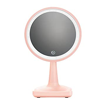 Gifts For Her Led Lighted Makeup Mirror Pink Portable 360° Rotation  Brightness Adjustable High Definition