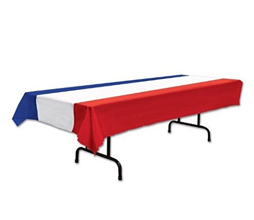 Patriotic Tablecover (Red, White, Blue) Party Accessory (1 Count) (1/pkg) Pkg/6 by PMU (Image #1)