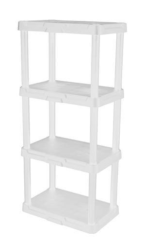 4 Shelf Shelving Unit - No toolsSnap On storage System - 8.5'' H x 18.25'' W x 12.5'' D - White