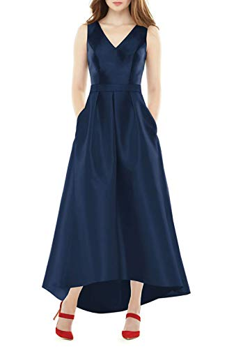 (Jerald Norton Ltd Women's V Neck High Low Dress Sleeveless Satin Evening Party Gown with Pockets Navy Blue)