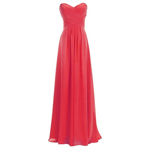 Corset Prom Dresses 2016 - Lemai Chiffon Sweetheart Plus Size Long Simple Corset Prom Bridesmaid Dresses Watermelon US26W
