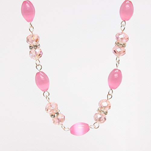 - Light Pink Necklace - Cat's Eye Barrel Glass Bead, Pink Faceted Bead, 20-in