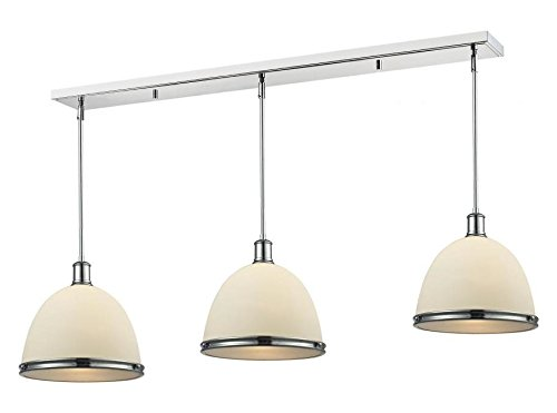 715P13-3CH Chrome Mason 3 Light Linear Pendant with Glass Frosted Shades