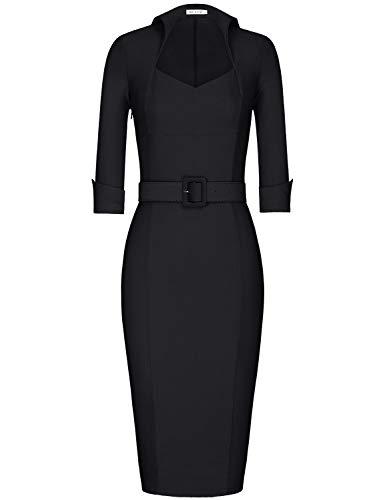 MUXXN Womnes Audrey Hepburn 60s Pleated Collar Half Sleeve Bodycon Club Dress (Black M)