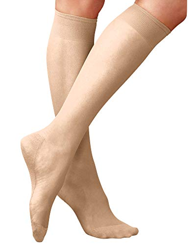 National Sheer Cotton Sole Knee High, Nude, 12-pk