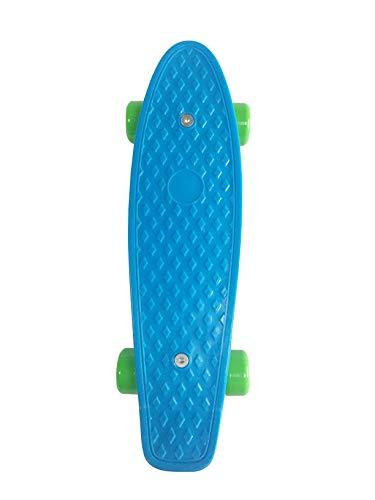 SK8MEMO 17X5inch Mini Skateboard, Mini Cruiser Skateboard for Beginners (Blue) (Best Type Of Skateboard For Beginners)