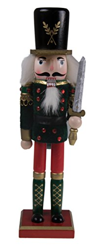 "Traditional Soldier Nutcracker by Clever Creations | Collectible Wooden Christmas Nutcracker | Festive Holiday Decor | Red & Green Velvet Soldier Uniform | Holding Silver Sword | 100% Wood | 12"" Tall"