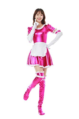 (WOLF UNITARD Women's French Maid Costumes Lolita Dress for Anime Cosplay Including Dress, Apron, Gloves and Socks M Rose Red)